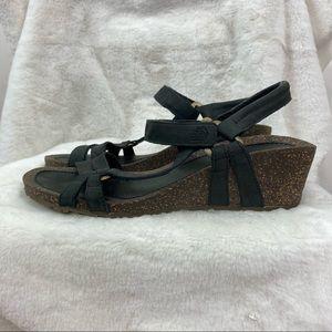 Teva Ventura Women 4220 Charcoal Leather Cork Wedges Strap Ankle Sandals Sz 10